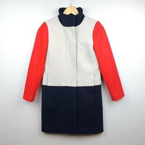 J.Crew | Funnel Neck Colorblock Wool Coat Red Blue